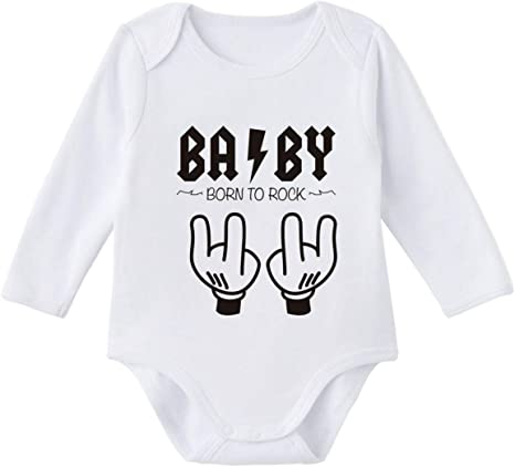 SUPERMOLON Body bebé manga larga Baby Born to rock Blanco ...