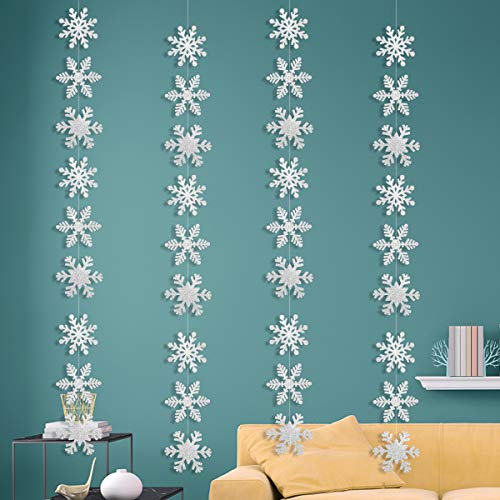 Christmas Party Decorations,36Pcs Silver Glittery Snowflake Hanging Garland Flags -Christmas Party Holiday Winter Wonderland Decoration]()
