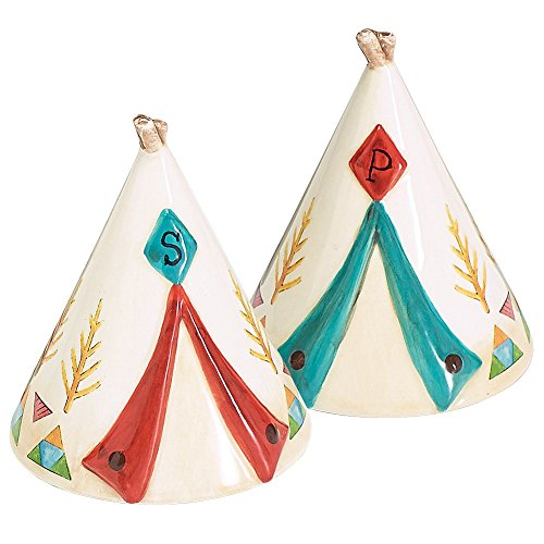 American Teepee Indian Native (Native American Teepee Tent Salt And Pepper Shaker Set - Handpainted Ceramic)