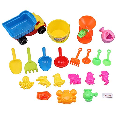 Playoly 21 Piece Beach Sand Toy Set Kids Toys Include Truck, Sandbox Bucket Animal Molds