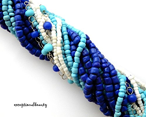 Blue Moon Bohemian Seed Bead Collection Blue White Size 11 Strand Mix Bulk Beads (Blue Moon Bead Strands)