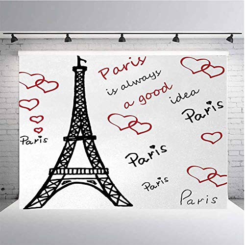 Eiffel Tower Photography Background Cloth Eiffel Paris is Always a Good Idea Tourism Locations Love Valentines for Photography,Video and Televison 10ftx8ft Red Black White