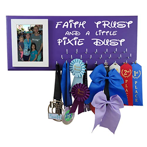 Running On The Wall Disney inspiered Medal Holder - Faith Trust and A Little Pixie DUST - Madal Hanger for Run Disney - Pixie Ribbon