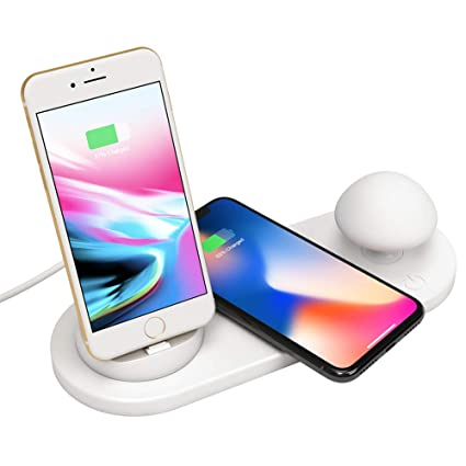 Amazon.com: ZUKN 3 in 1 Fast Wireless Charger Pad Night Lamp ...