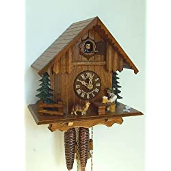 1-Day 8.6 in. Wooden Cuckoo Clock in Antique Finish