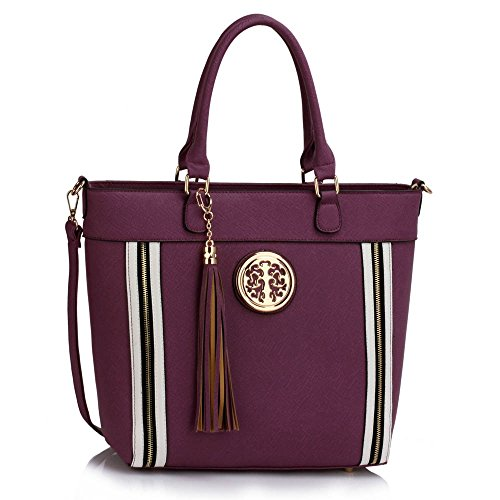 Large Handbag Celebrity Women's Faux Leather Purple Tassel Quality Fashion CWS00404 Trendy Gorgeous Bag Tote Ladies p7xHInx