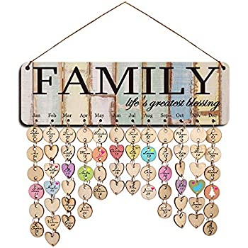 YuQi Wooden Family Friends Birthday Reminder Calendar Board Wall Hanging,DIY Wooden Perpetual Birthday Tracker Calendars Plaque,Best Wish for You Pattern with Discs Tags for Home Wall Decor,Wife Best Gifts from Husband