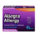 Allegra Allergy Fexofenadine HCI 180mg/Antihistamine Tablets , 45 CT (Pack of 6)