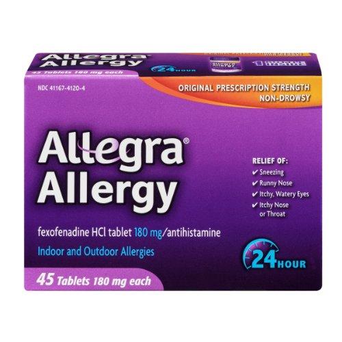 Allegra Allergy Fexofenadine HCI 180mg/Antihistamine Tablets , 45 CT (Pack of 6)