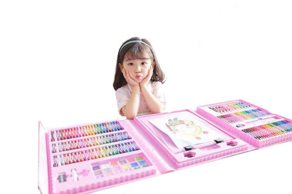HQYDBB Kids Premium Art Set, 176 Set di pennelli artistici per Bambini, Pastello, Acquerello, Penna, Pittura per cancelleria, Scuola primaria, B
