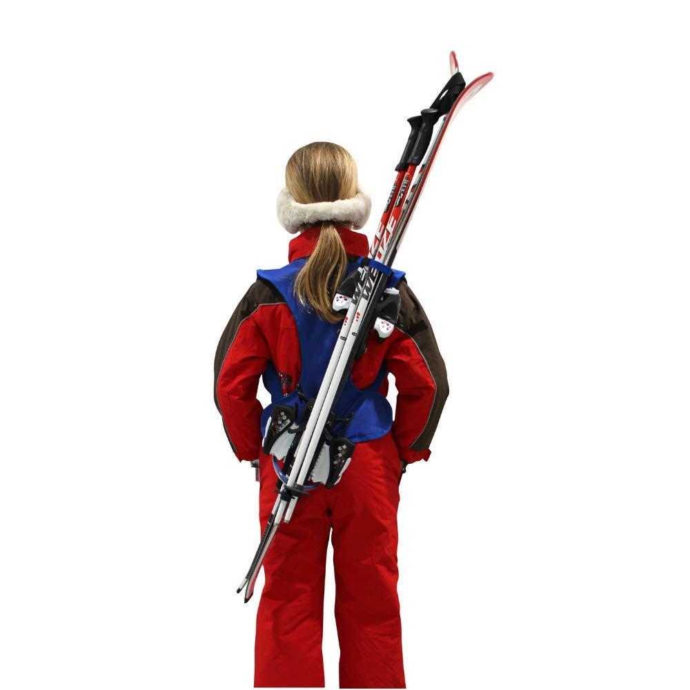Wantalis Skiback kid - Ein revolutionäres Produkt, um Ihre Ski freihändig zu tragen - Anpassbare und verstellbare Schultergurte - Kindergröße max. 1m30
