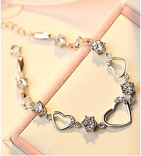 for jewellery crystal motherss product bracelet authentic silver hand gift day sterling heart s chain women link bracelets mothers