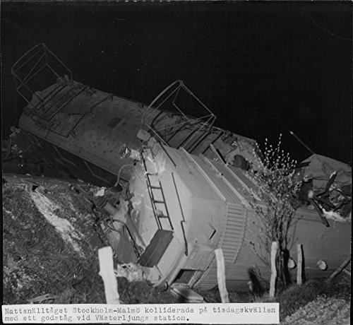 Vintage photo of Night express train after the collision with a freight train at North Station Ljung. - 11 May 1945 ()