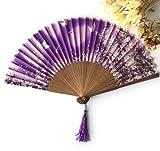 Purple Luxurious Silk Fold Hand Fan Cartoon Butterfly Print Fan Outdoor Wedding Favors Party Event Decorations