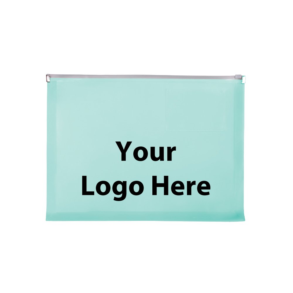 Zip Closure Envelope With Business Card Slot - 150 Quantity - $2.85 Each - PROMOTIONAL PRODUCT / BULK / BRANDED with YOUR LOGO / CUSTOMIZED