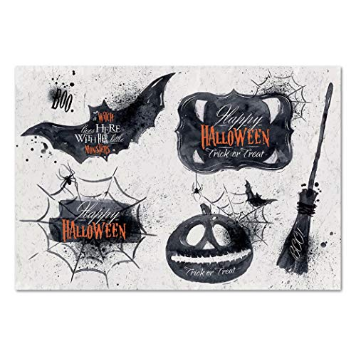 Large Wall Mural Sticker [ Vintage Halloween,Halloween Symbols Happy Holiday Witch Lives Here Broomstick Spider Web Decorative,Black White ] Self-adhesive Vinyl Wallpaper / Removable Modern Decorating