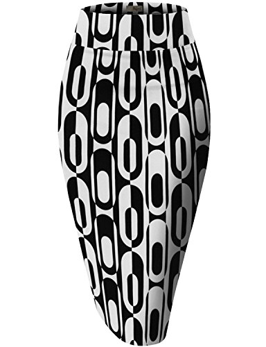 (Womens Pencil Skirt for Office Wear KSK43584X 10671 Black 2X)