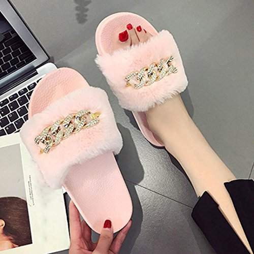 Flat Slipper Fluffy On Slip Chaussons Rose Sandal Flip Flop Rawdah Femme Sliders Faux Fur Chaussures fqF14wTES