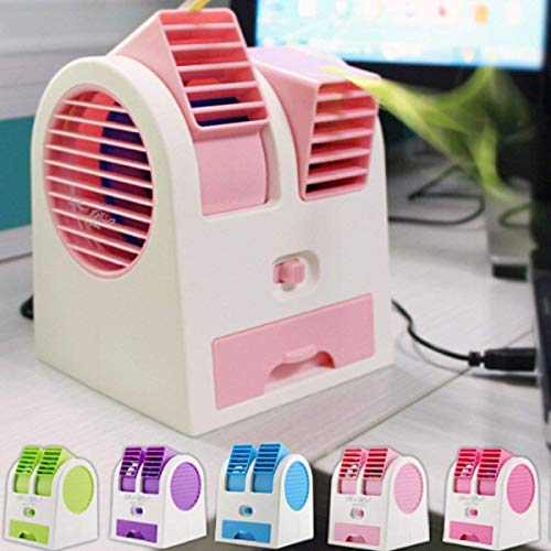 JCV International Mini Fan & Portable Dual Bladeless Small Air Conditioner Water Air Cooler Powered by USB & Battery Use of Home/Office/Car/Garden/Classroom (Pack of 1)