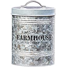 Amici Home, A7CDI029R, Farmhouse Country Living Galvanized Metal Storage Canister, Food Safe, Push Top Lid, 76 Ounces