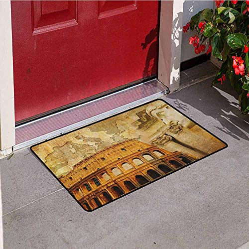 Gloria Johnson Retro Commercial Grade Entrance mat Roman Empire Concept Famous Columns Sculptress Colosseum Map of The Nation Print for entrances garages patios W19.7 x L31.5 Inch Orange Brown]()