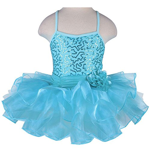 [TFJH Kids Little Girls' Ballet Flower Sequin Sleeveless Leotard Tutu Blue 5-6 Years] (Dance Wear Costumes)