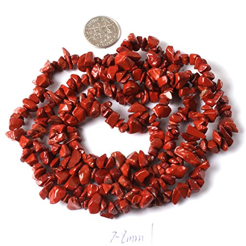 6-8mm Red Jasper Natural Stone Gravel Gemstone Chips Beads For Jewelry Making Freeform Red (Jasper Gemstone Beads Bracelet)