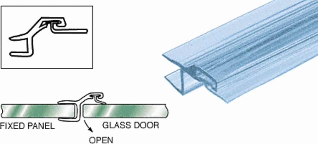 CRL Polycarbonate Strike and Door ''h'' Jamb with Vinyl Insert for 180 Degree for 3/8'' Glass - 98 in long