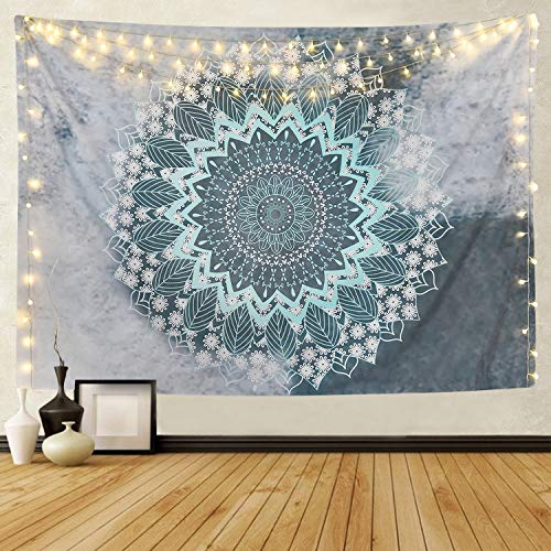 (BLEUM CADE Tapestry Mandala Hippie Bohemian Tapestries Wall Hanging Flower Psychedelic Tapestry Wall Hanging Indian Dorm Decor Living Room Bedroom (Teal, 51.2 ×59.1 inches))