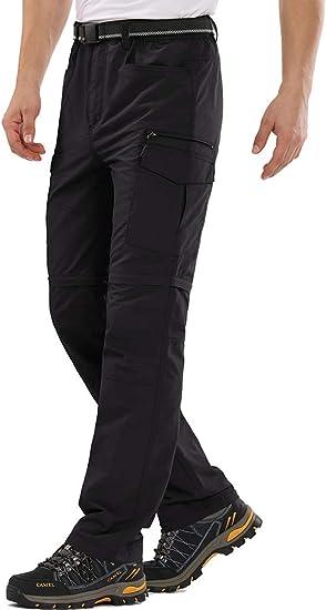 Mens Hiking Pants Convertible Quick Dry Travel Cargo Fishing Zip Off Lightweight Safari Pants