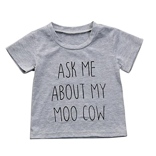 Moo Cow Little (Jarsh Kids Toddler Boys Girls Ask Me About My Moo Cow Letter Printing Tops T-Shirt Blouse (4T(3-4Years Old)))