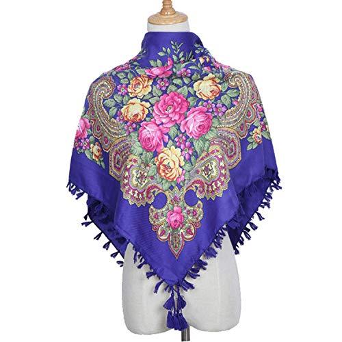 Square decorative Scarf Women handmade tassel flower design Scarves Blanket Shawl Handkerchief,B Oran