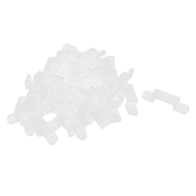 sourcing map 40 Piezas Silicona Clips para Fijar 10mm 3528 5050 5630 luz LED Tira