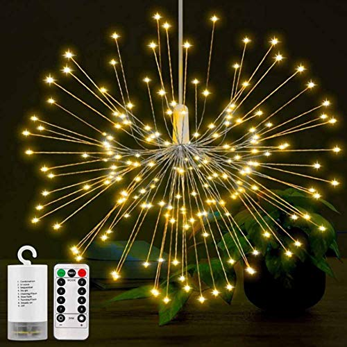 Fairy String Lights Outdoor 100 LED Starry Lights 8 Modes Dimmable  Waterproof Atmosphere Decoration Hanging Starburst Lights for Christ Xmas Gardens Patio Wedding Party Festival Cafe(Warm White)