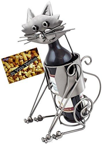 BRUBAKER Wine Bottle Holder Cat - Metal Sculpture - Wine Rack Decor - Tabletop - With Greeting Card