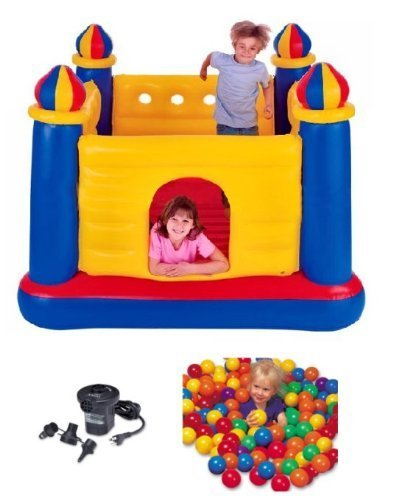 Intex Inflatable Jump-O-Lene Ball Pit Castle Bouncer W/ Air Pump & Plastic Balls By