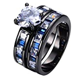 JBL Promise Romantic Crystal White Heart Sets Top Quality Black Gold Filled Her Engagement Wedding Ring
