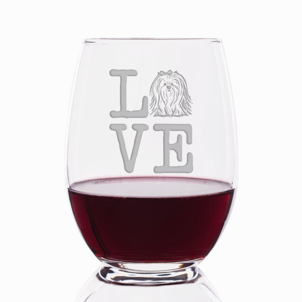 Love Shih Tzu Engraved Stemless 21 oz Wine Glass - 4pcs by Mic & Co