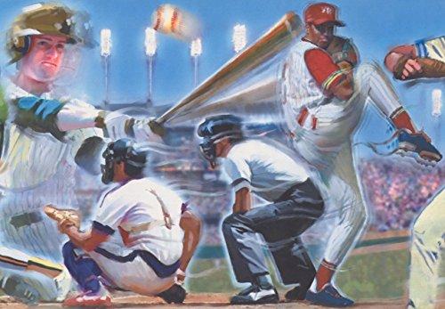 (Baseball Players Umpire Pitcher Batter Ball Park Vintage Wallpaper Border Retro Design, Roll 15' x 10