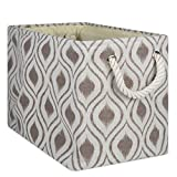 DII CAMZ10024 Collapsible Polyester Storage Basket or Bin with Durable Cotton Handles, Home Organizer Solution for Office, Bedroom, Closet, Toys, and Laundry, Medium - 16 x 10 x 12, Ikat Stone