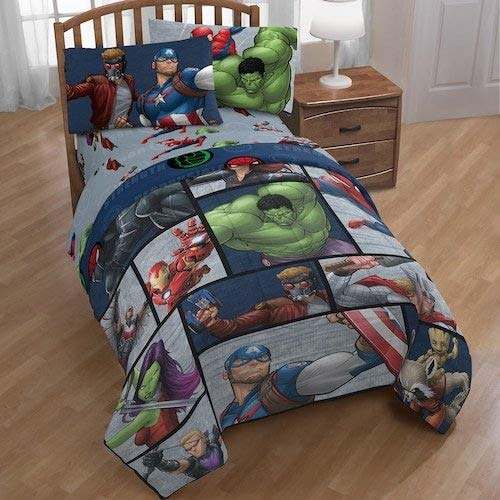 Marvel Comic Heroes Infinity War 5 Piece Kids Full Bedding Set – Reversible Comforter, Sheet Set with 2 Reversible Pillowcases