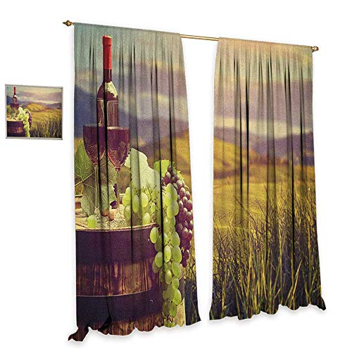 homefeel Wine Window Curtain Fabric Italy Tuscany Landscape Rural Vineyard Autumn Harvest Grapes Drink Viticulture Waterproof Window Curtain W84 x L96 Green Black Brown