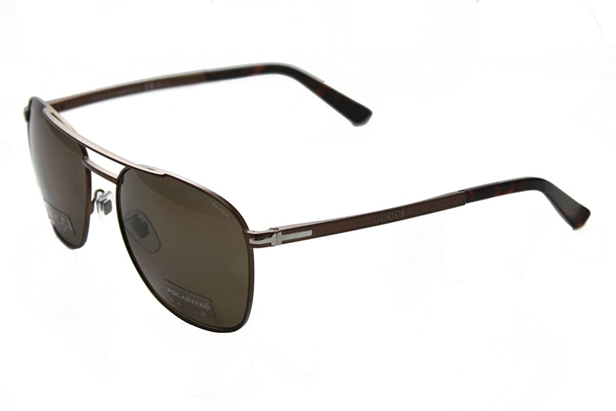 56a8cce3350aa Amazon.com  GUCCI Square GG2270FS Matte Brown Steel Bronze Polarized  Sunglasses Special Fit 2270 Men  Clothing