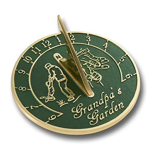 Grandpa's Garden Sundial Gift. New Gift Idea for His Garden Or Ornament from Grandson, Granddaughter Or Grandkids. Lasting Card for Him On Fathers Day, Birthday Or Christmas by The Metal Foundry
