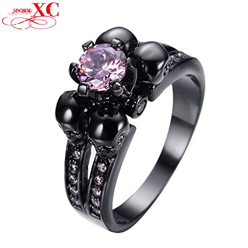 GemMart Jewelry Black Skull Pink Jewelry Women/Men Ring Anel Aneis Black Gold Filled Zircon Ring for Halloween RB0335