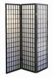 Room Divider with 3 Natural Fiber Panels and Durable Wood Frame, Black Finish