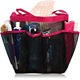 Quick Dry Hanging Toiletry and Bath Organizer with 8 Storage Compartments, Shower Tote, Mesh Shower Caddy, Perfect Dorm, Gym, Camp & Travel Tote Bag, Pink