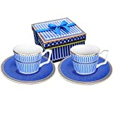 Magtrem Paris Style Classical Tea Cup and Saucer, Bone China,Set of 2