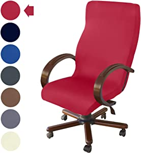 NORTHERN BROTHERS Office Chair Cover Computer Desk Chair Covers Stretch Rolling Chair Slipcover (Red)