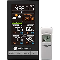 Ambient Weather WS-2801 Advanced Wireless Color Forecast Station with Temperature, Humidity & Barometer